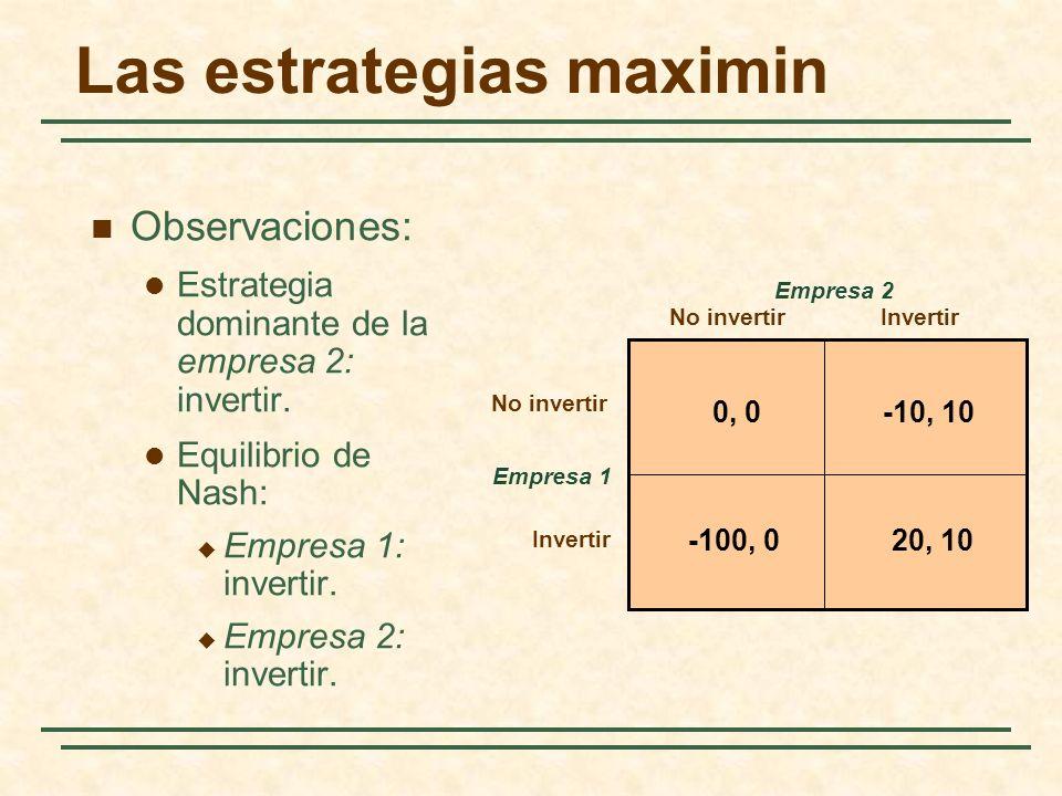 Las estrategias maximin Empresa 1 No invertirInvertir Empresa 2 0, 0-10, 10 20, 10-100, 0 No invertir Invertir Observaciones: Estrategia dominante de
