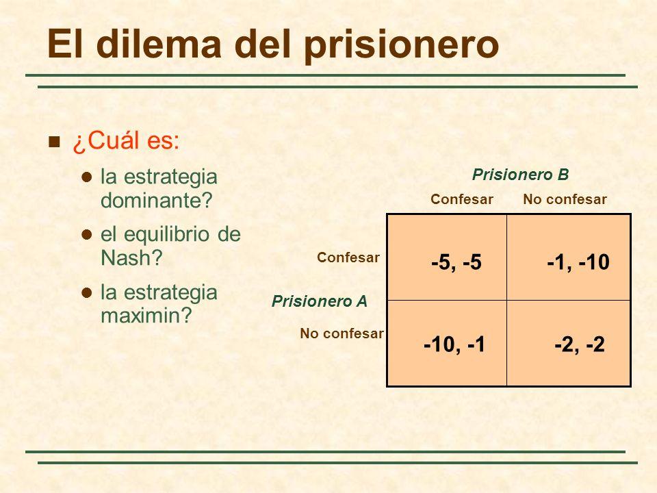 El dilema del prisionero Prisionero A ConfesarNo confesar Confesar No confesar Prisionero B -5, -5-1, -10 -2, -2-10, -1 ¿Cuál es: la estrategia domina
