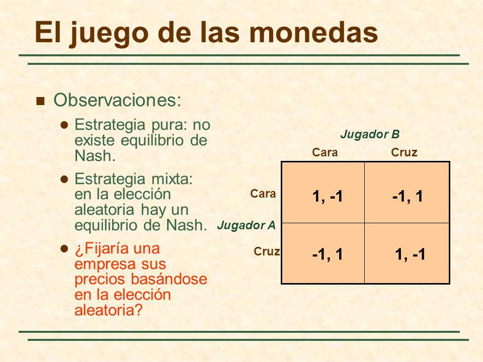 El juego de las monedas Jugador A CaraCruz Cara Cruz Jugador B 1, -1-1, 1 1, -1-1, 1 Observaciones: Estrategia pura: no existe equilibrio de Nash. Est