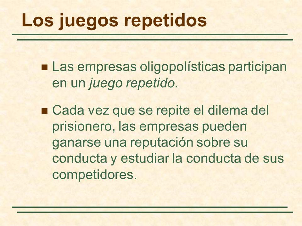 Los juegos repetidos Las empresas oligopolísticas participan en un juego repetido. Cada vez que se repite el dilema del prisionero, las empresas puede