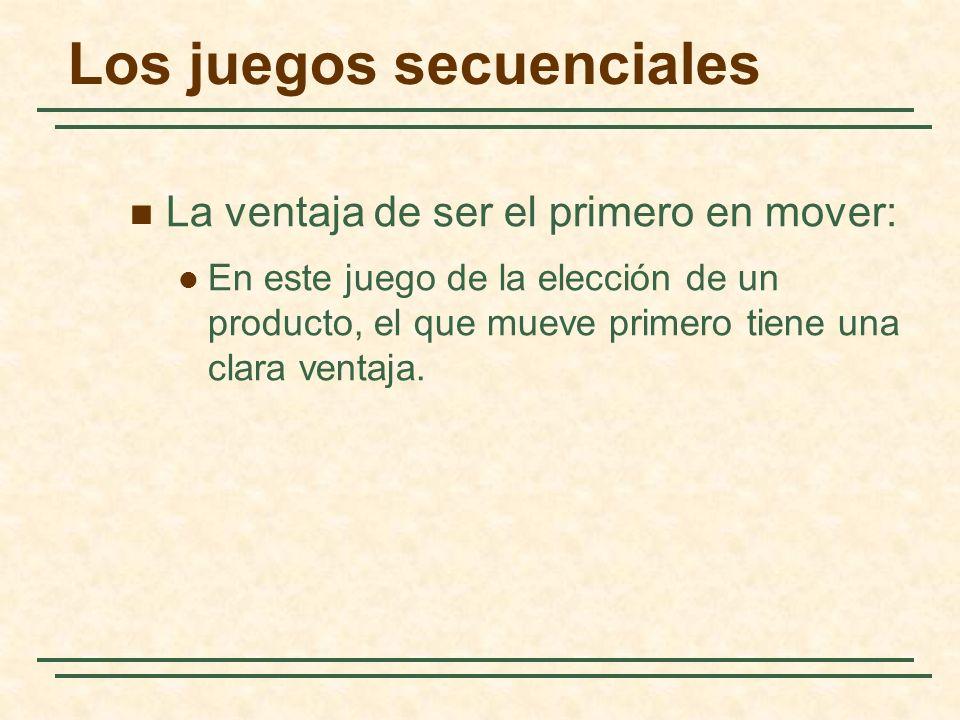 Los juegos secuenciales La ventaja de ser el primero en mover: En este juego de la elección de un producto, el que mueve primero tiene una clara venta