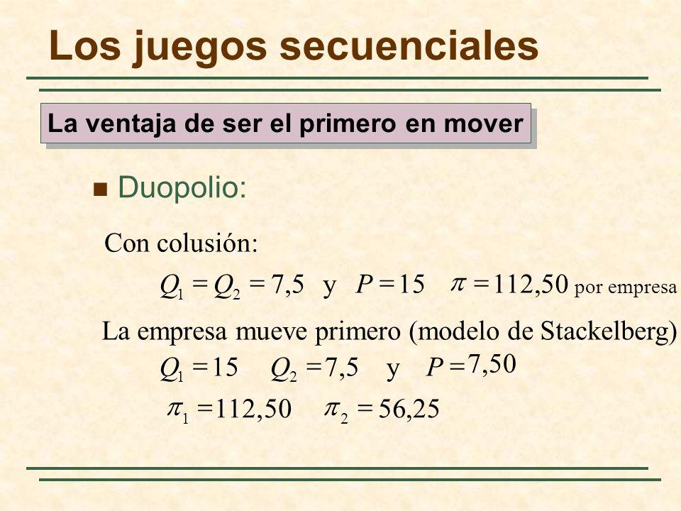Los juegos secuenciales Duopolio: 25,56 50112, 7,50 y 7,5 15 La empresa mueve primero (modelo de Stackelberg) 50 por empresa 112, 15 y 5,7 Con colusió