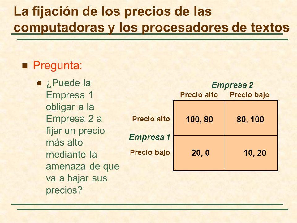 La fijación de los precios de las computadoras y los procesadores de textos Empresa 1 Precio altoPrecio bajo Precio alto Precio bajo Empresa 2 100, 80