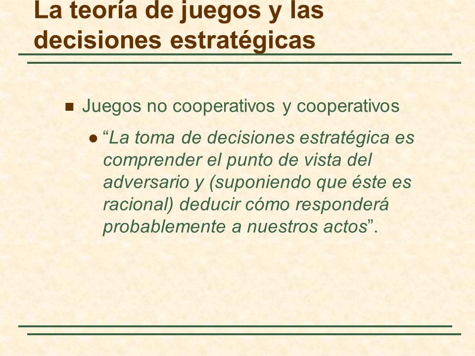 La teoría de juegos y las decisiones estratégicas Juegos no cooperativos y cooperativos La toma de decisiones estratégica es comprender el punto de vi