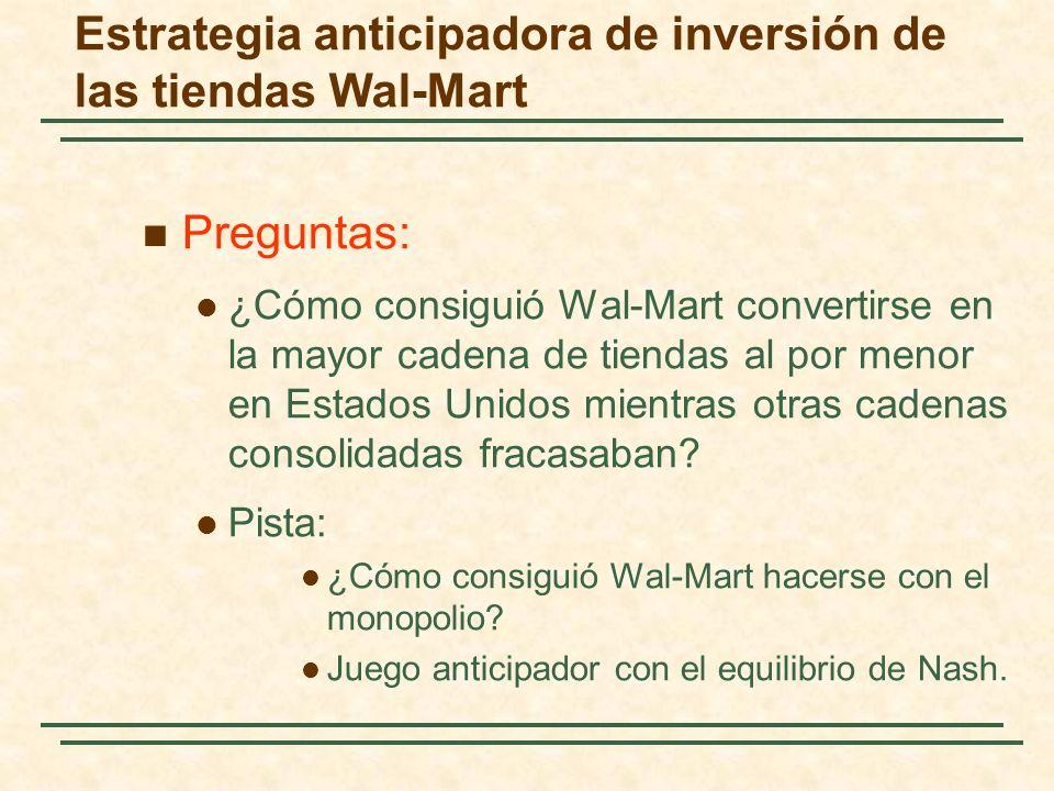 Estrategia anticipadora de inversión de las tiendas Wal-Mart Preguntas: ¿Cómo consiguió Wal-Mart convertirse en la mayor cadena de tiendas al por meno