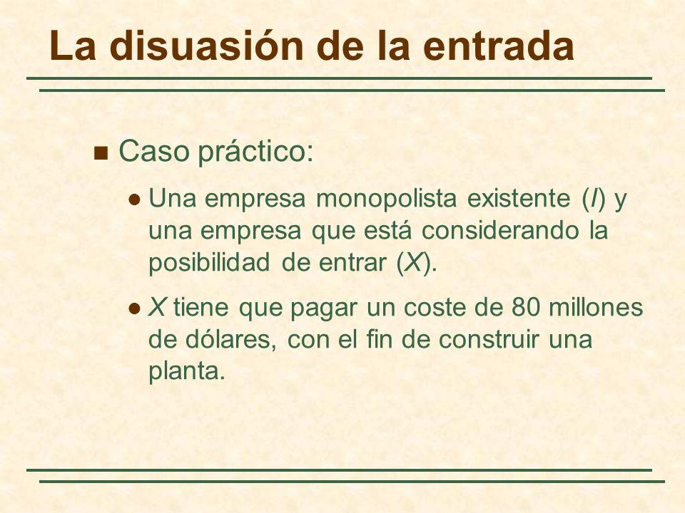 La disuasión de la entrada Caso práctico: Una empresa monopolista existente (I) y una empresa que está considerando la posibilidad de entrar (X). X ti