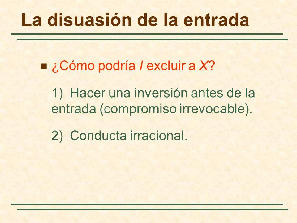 La disuasión de la entrada ¿Cómo podría I excluir a X? 1)Hacer una inversión antes de la entrada (compromiso irrevocable). 2)Conducta irracional.