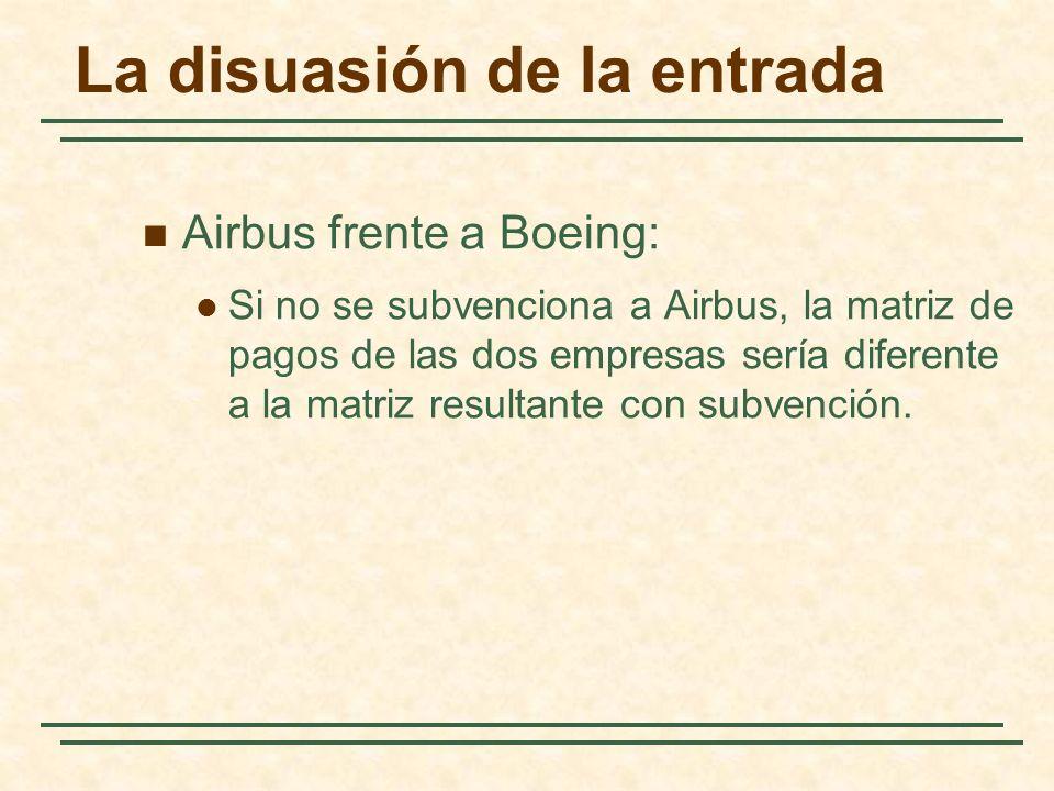 Airbus frente a Boeing: Si no se subvenciona a Airbus, la matriz de pagos de las dos empresas sería diferente a la matriz resultante con subvención. L