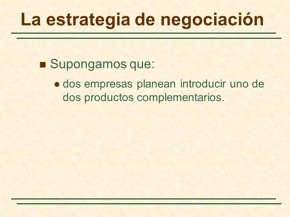 La estrategia de negociación Supongamos que: dos empresas planean introducir uno de dos productos complementarios.