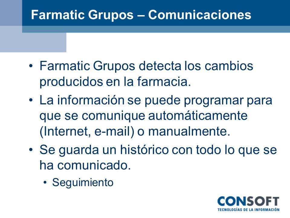 Farmatic Grupos – Comunicaciones Farmatic Grupos detecta los cambios producidos en la farmacia. La información se puede programar para que se comuniqu