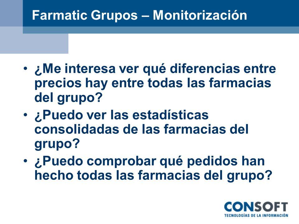 Farmatic Grupos – Monitorización ¿Me interesa ver qué diferencias entre precios hay entre todas las farmacias del grupo? ¿Puedo ver las estadísticas c