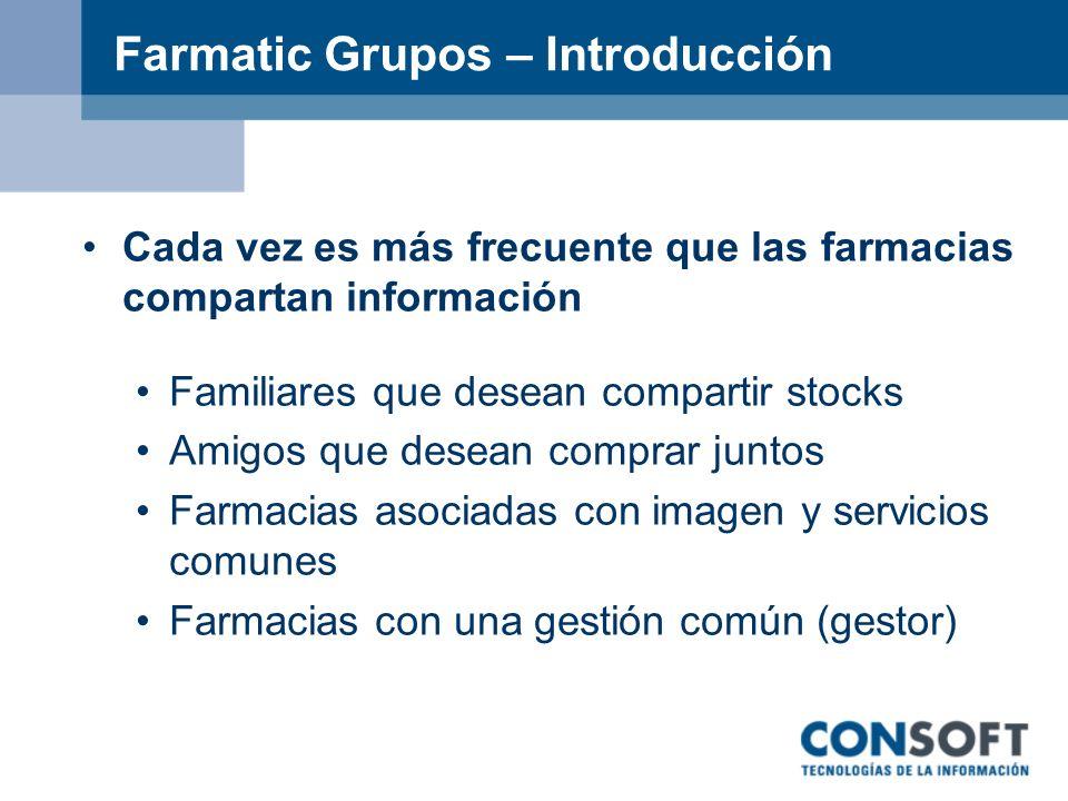 Farmatic Grupos – Introducción Cada vez es más frecuente que las farmacias compartan información Familiares que desean compartir stocks Amigos que des