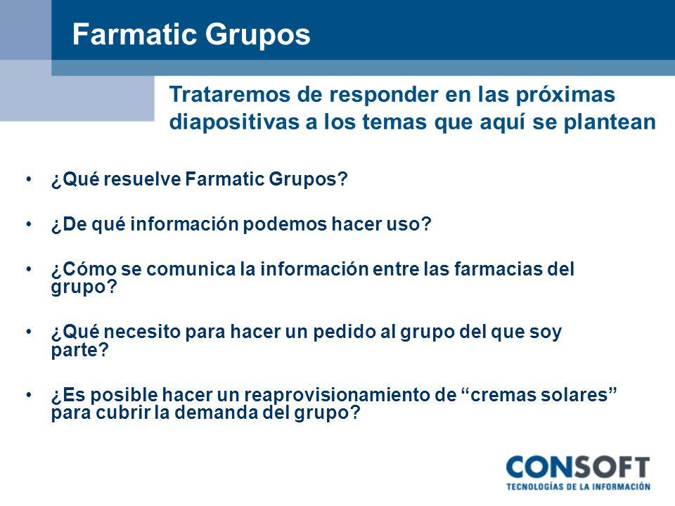 Farmatic Grupos – Objetivos Los objetivos principales de un grupo: Conocer información de otras farmacias.