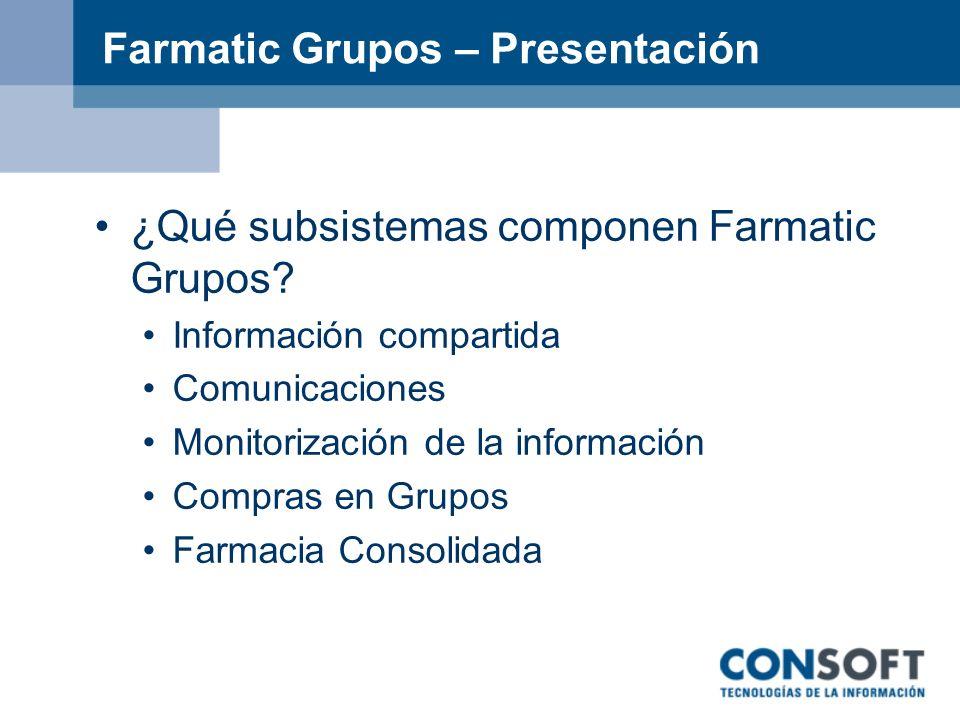 Farmatic Grupos – Presentación ¿Qué subsistemas componen Farmatic Grupos? Información compartida Comunicaciones Monitorización de la información Compr