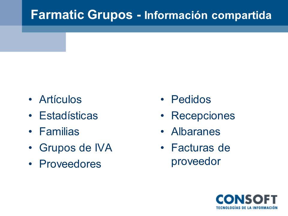 Farmatic Grupos - Información compartida Artículos Estadísticas Familias Grupos de IVA Proveedores Pedidos Recepciones Albaranes Facturas de proveedor