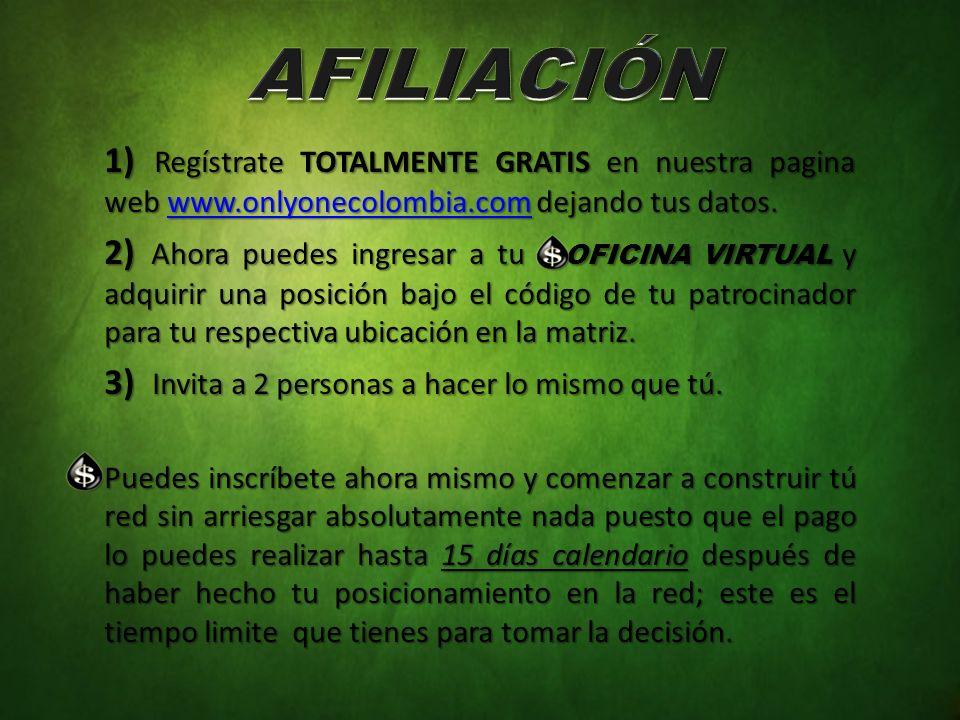 1) Regístrate TOTALMENTE GRATIS en nuestra pagina web www.onlyonecolombia.com dejando tus datos. www.onlyonecolombia.com 2) Ahora puedes ingresar a tu