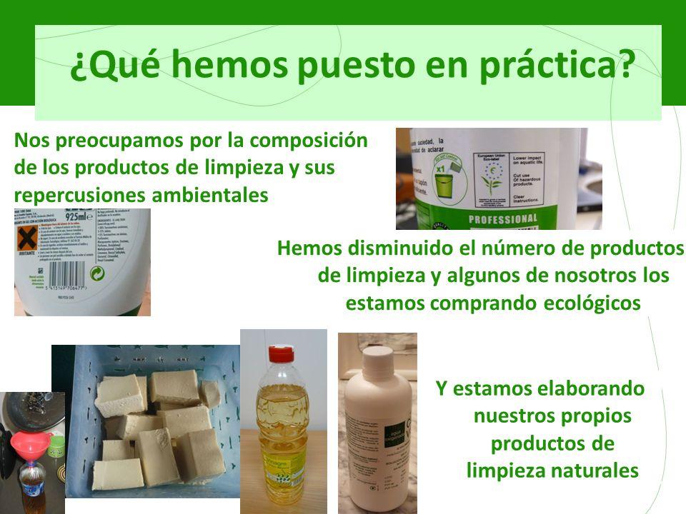 ¿Qué hemos puesto en práctica? Nos preocupamos por la composición de los productos de limpieza y sus repercusiones ambientales Hemos disminuido el núm