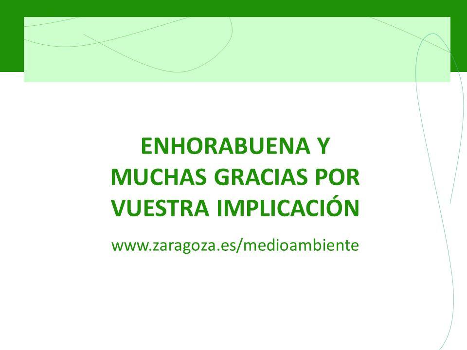 ENHORABUENA Y MUCHAS GRACIAS POR VUESTRA IMPLICACIÓN www.zaragoza.es/medioambiente