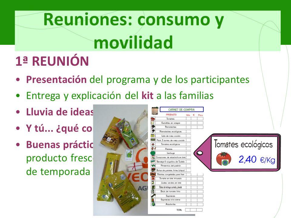 Reuniones: consumo y movilidad 1ª REUNIÓN Presentación del programa y de los participantes Entrega y explicación del kit a las familias Lluvia de idea