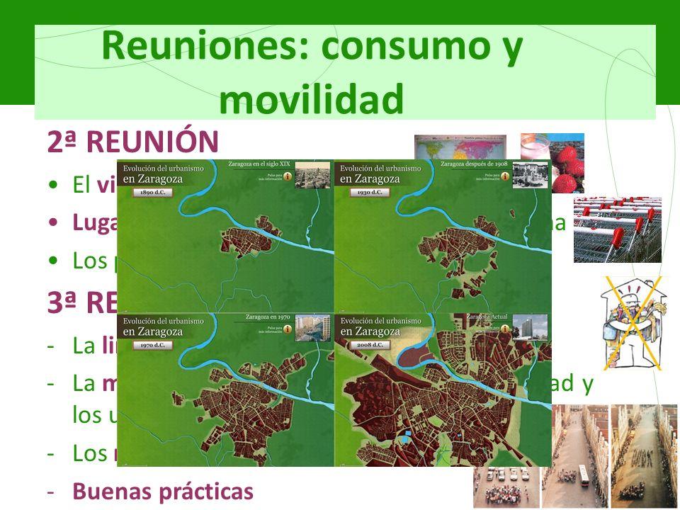 Reuniones: consumo y movilidad 2ª REUNIÓN El viaje de un yogur de fresa Lugares donde realizamos la compra cotidiana Los productos transgénicos 3ª REU