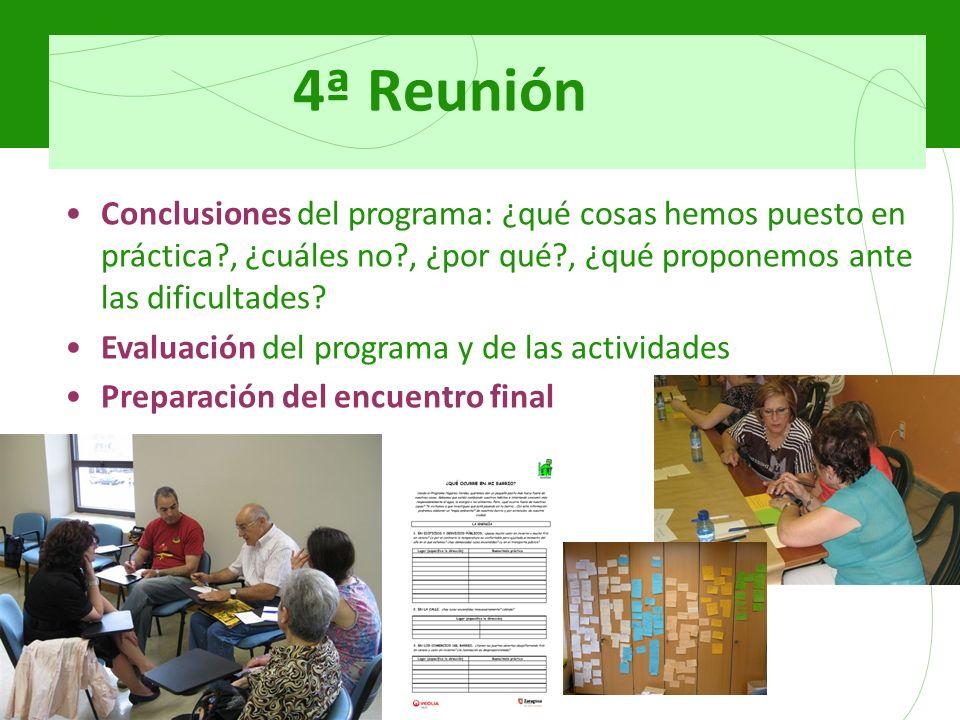 4ª Reunión Conclusiones del programa: ¿qué cosas hemos puesto en práctica?, ¿cuáles no?, ¿por qué?, ¿qué proponemos ante las dificultades? Evaluación