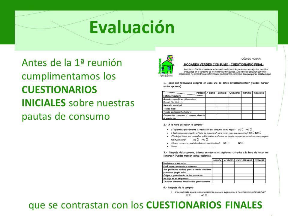 Evaluación Antes de la 1ª reunión cumplimentamos los CUESTIONARIOS INICIALES sobre nuestras pautas de consumo que se contrastan con los CUESTIONARIOS