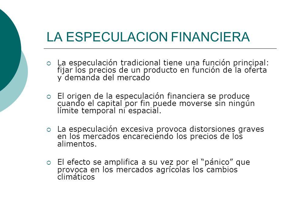 LA ESPECULACION FINANCIERA La especulación tradicional tiene una función principal: fijar los precios de un producto en función de la oferta y demanda