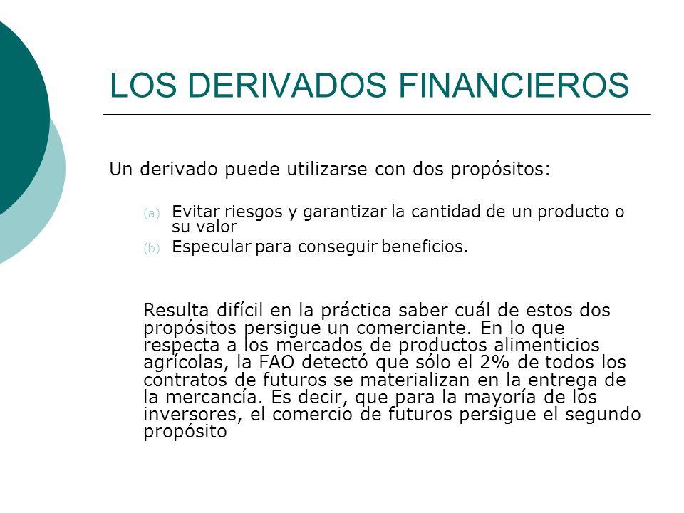 LOS DERIVADOS FINANCIEROS Un derivado puede utilizarse con dos propósitos: (a) Evitar riesgos y garantizar la cantidad de un producto o su valor (b) E