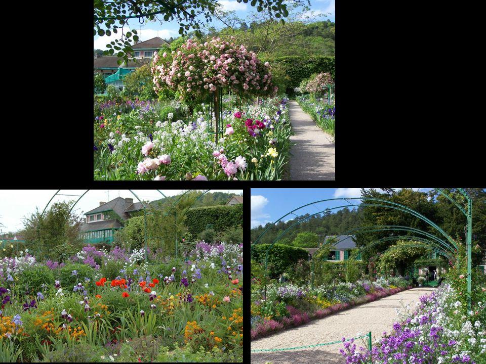 El Clos Normand es el jardín trasero de la casa – que responde al esquema geométrico y racional del jardín francés, y que se mantiene siempre con flor