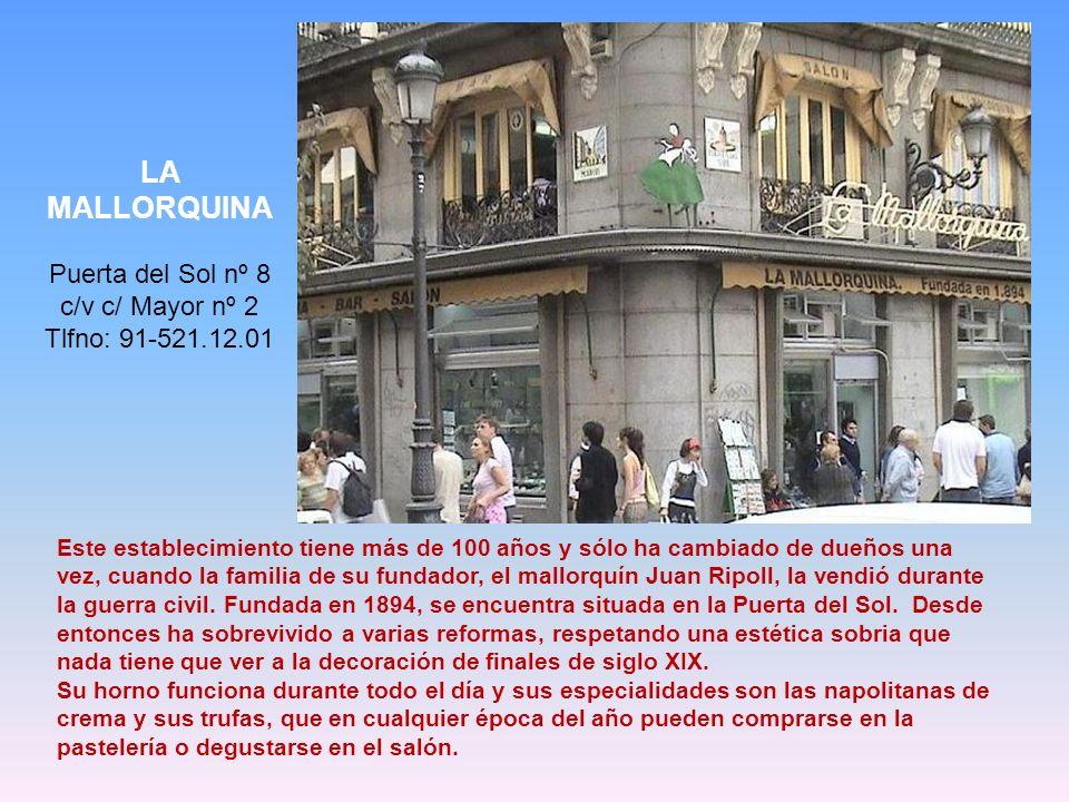 Pastelería Venecia Tlfno.: +34 915 702 234 Plaza de San Amaro 1 Inaugurada en 1960. Desde entonces se mantiene purista en sus formularios. Su tarta Sa