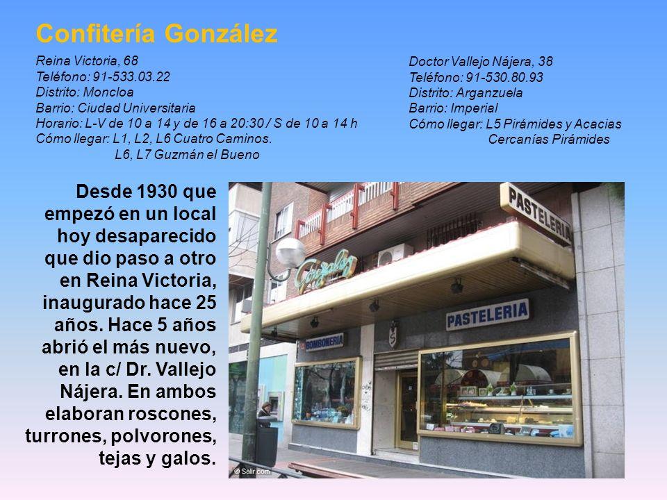 Bombonería La Violeta Plaza Canalejas, 6 Se inauguró en 1915. Es una tienda pequeña pero elegante, situada en los bajos de un sofisticado edificio, qu