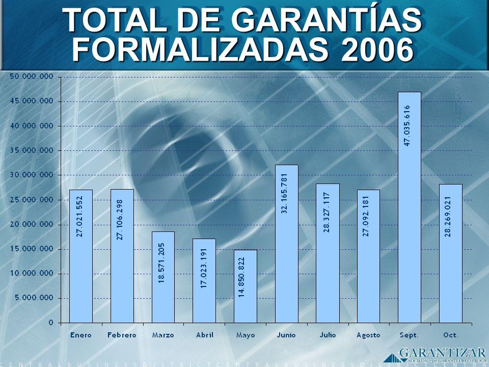 TOTAL DE GARANTÍAS FORMALIZADAS 2006