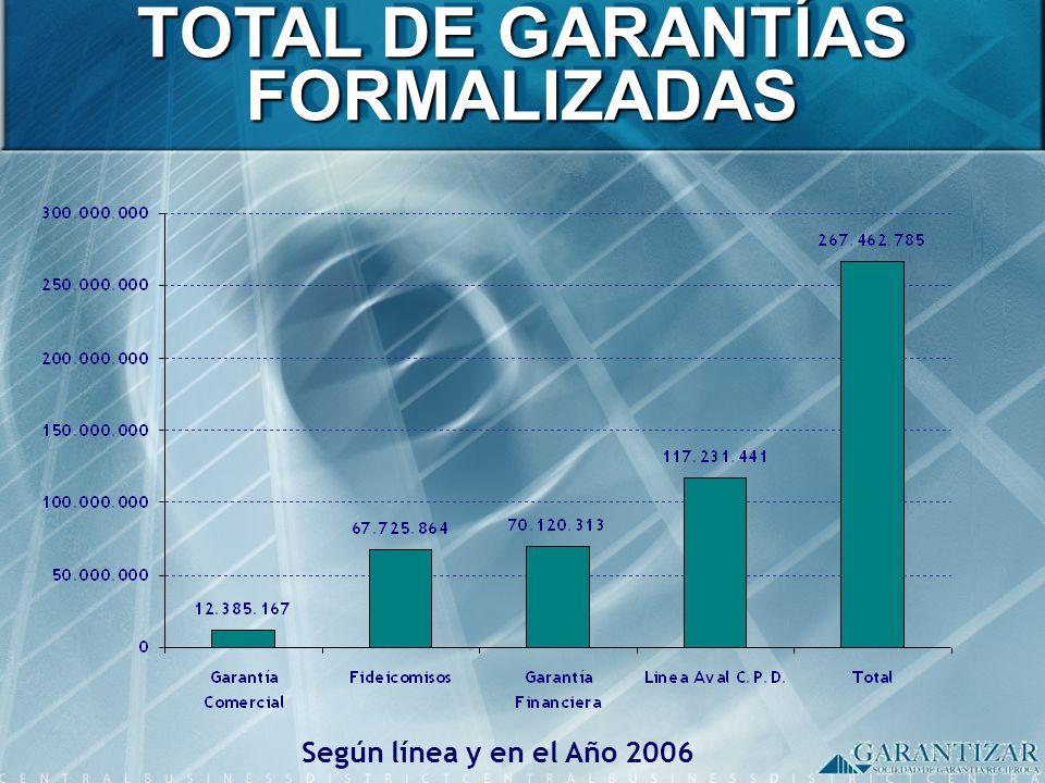 TOTAL DE GARANTÍAS FORMALIZADAS Según línea y en el Año 2006