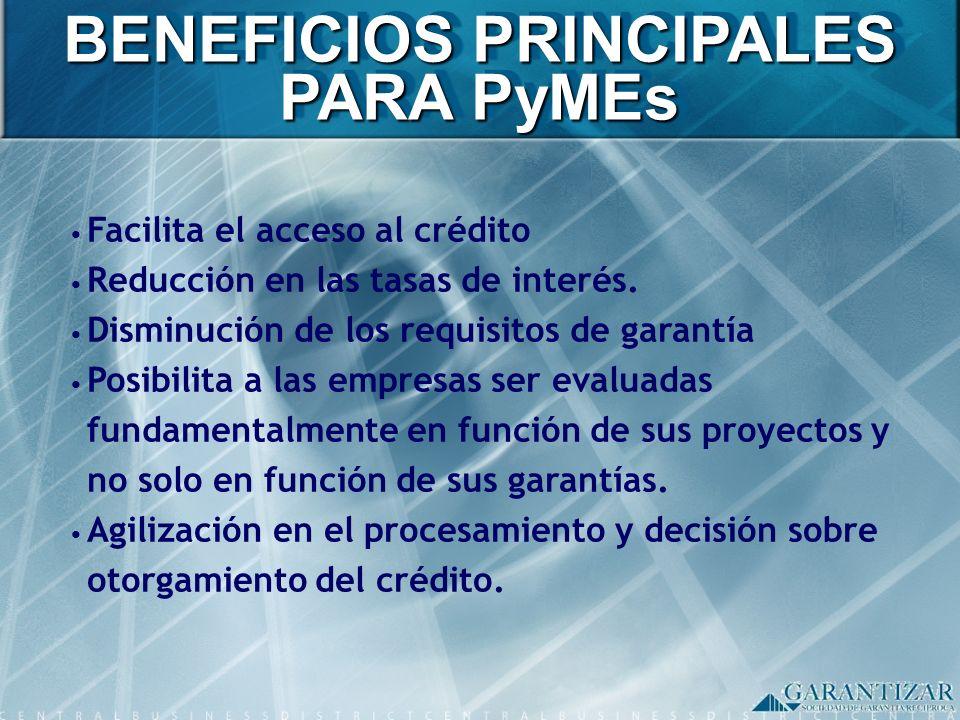 Facilita el acceso al crédito Reducción en las tasas de interés. Disminución de los requisitos de garantía Posibilita a las empresas ser evaluadas fun