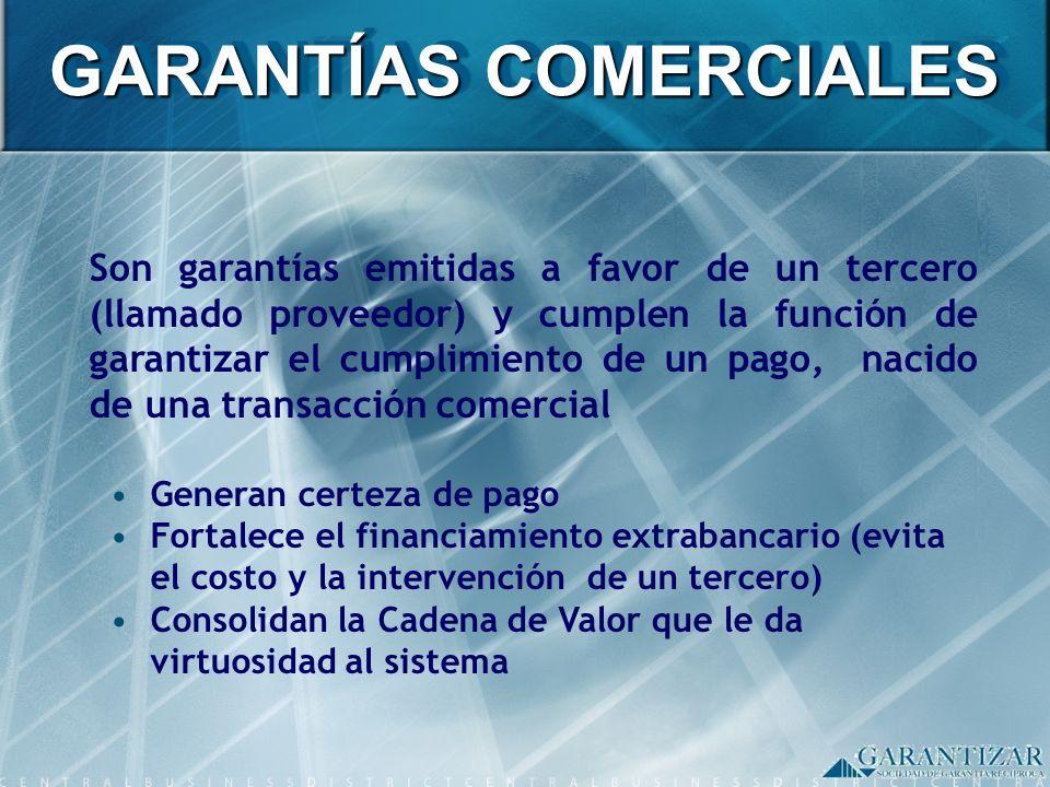 Son garantías emitidas a favor de un tercero (llamado proveedor) y cumplen la función de garantizar el cumplimiento de un pago, nacido de una transacc