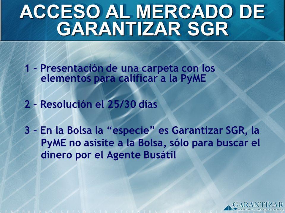 1 – Presentación de una carpeta con los elementos para calificar a la PyME 2 – Resolución el 25/30 días 3 – En la Bolsa la especie es Garantizar SGR,
