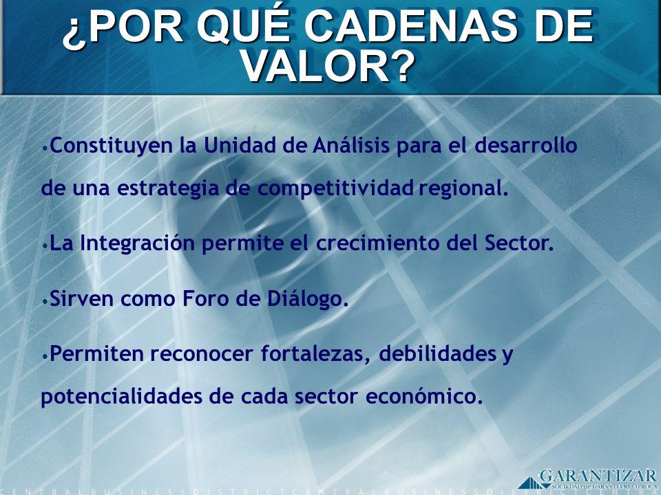 ¿POR QUÉ CADENAS DE VALOR? Constituyen la Unidad de Análisis para el desarrollo de una estrategia de competitividad regional. La Integración permite e