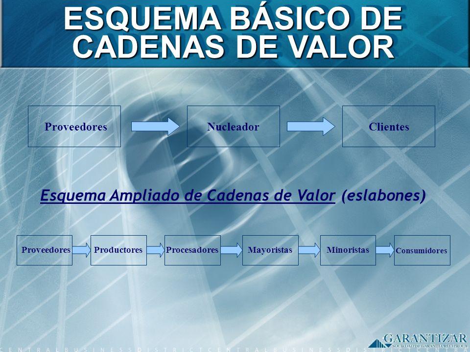 ESQUEMA BÁSICO DE CADENAS DE VALOR ProveedoresNucleadorClientes Esquema Ampliado de Cadenas de Valor (eslabones) ProveedoresProductoresProcesadoresMay