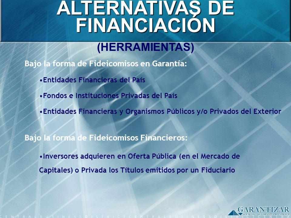 ALTERNATIVAS DE FINANCIACIÓN (HERRAMIENTAS) Bajo la forma de Fideicomisos en Garantía: Entidades Financieras del País Fondos e Instituciones Privadas