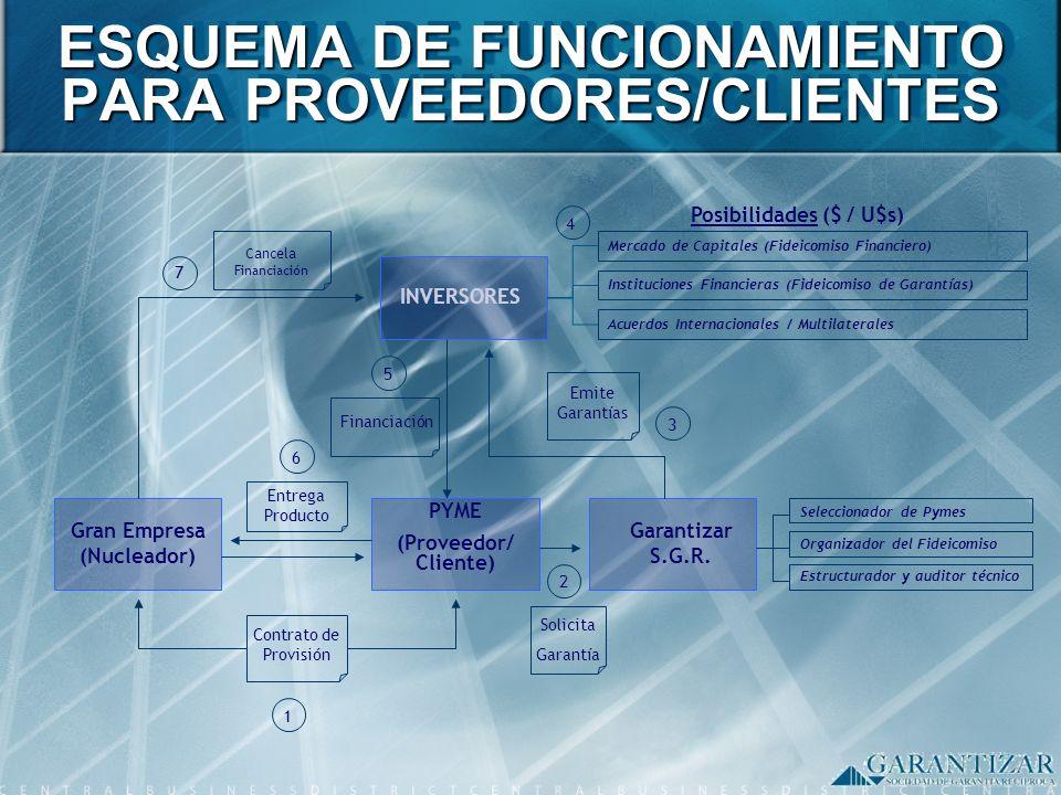ESQUEMA DE FUNCIONAMIENTO PARA PROVEEDORES/CLIENTES Gran Empresa (Nucleador) Contrato de Provisión PYME (Proveedor/ Cliente) Garantizar S.G.R. INVERSO