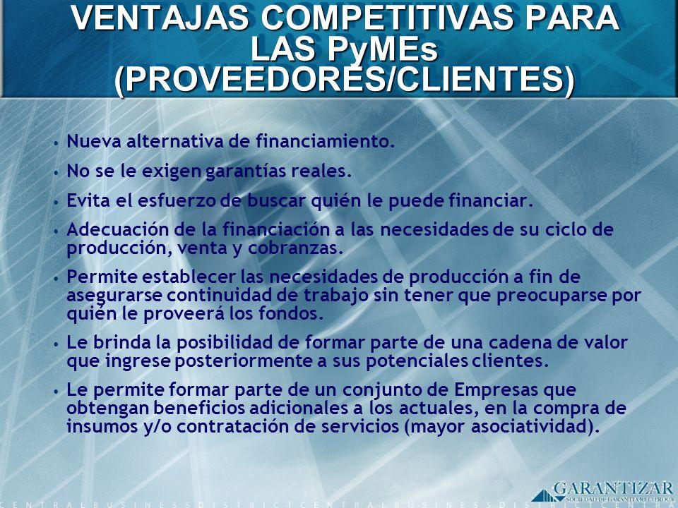 VENTAJAS COMPETITIVAS PARA LAS PyMEs (PROVEEDORES/CLIENTES) Nueva alternativa de financiamiento. No se le exigen garantías reales. Evita el esfuerzo d