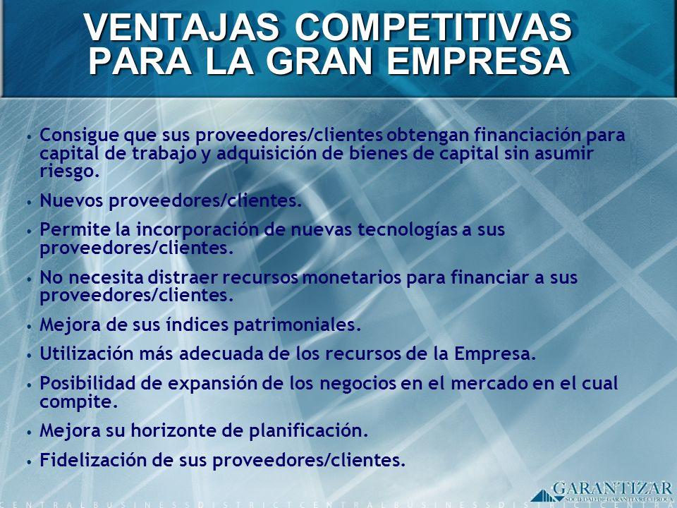 VENTAJAS COMPETITIVAS PARA LA GRAN EMPRESA Consigue que sus proveedores/clientes obtengan financiación para capital de trabajo y adquisición de bienes