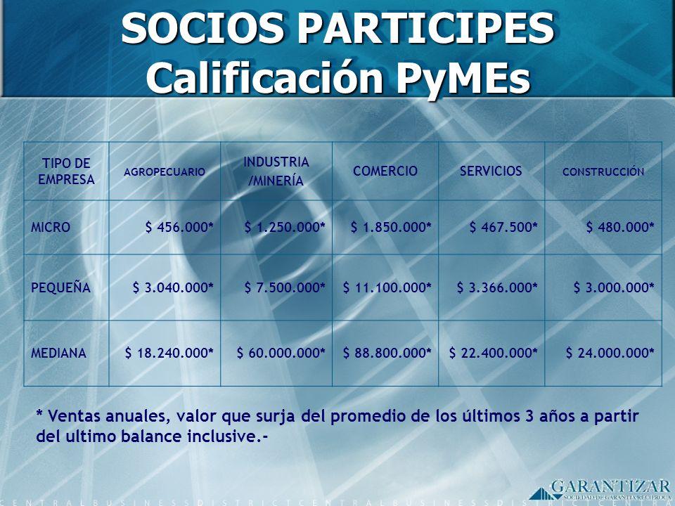 SOCIOS PARTICIPES Calificación PyMEs TIPO DE EMPRESA AGROPECUARIO INDUSTRIA /MINERÍA COMERCIOSERVICIOS CONSTRUCCIÓN MICRO$ 456.000*$ 1.250.000*$ 1.850