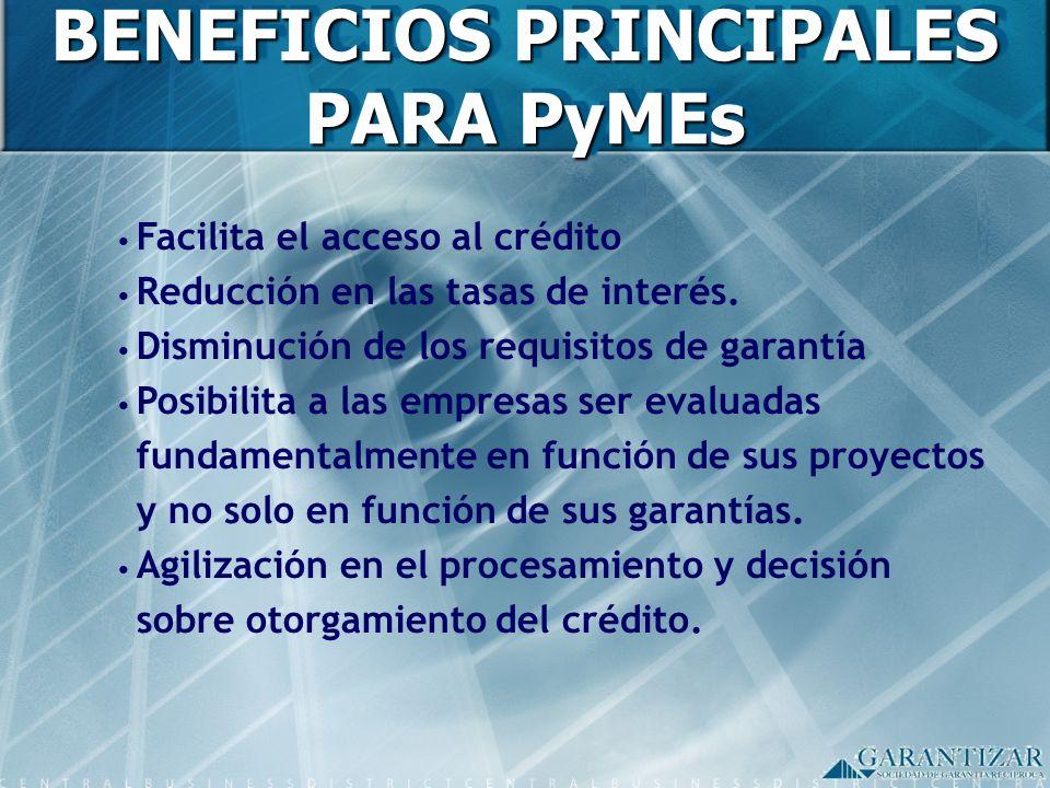 ESQUEMA DE FUNCIONAMIENTO PARA PROVEEDORES/CLIENTES Gran Empresa (Nucleador) Contrato de Provisión PYME (Proveedor/ Cliente) Garantizar S.G.R.