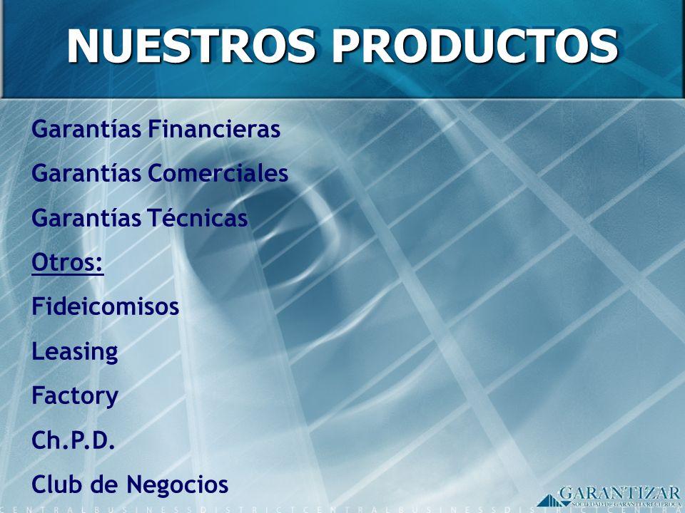 Garantías Financieras Garantías Comerciales Garantías Técnicas Otros: Fideicomisos Leasing Factory Ch.P.D. Club de Negocios - NUESTROS PRODUCTOS