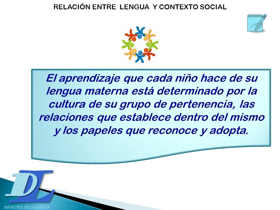 L D DIDÁCTICA DE LA LENGUA. El aprendizaje que cada niño hace de su lengua materna está determinado por la cultura de su grupo de pertenencia, las rel
