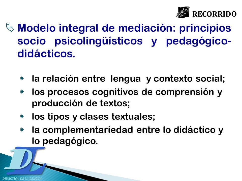 LD Modelo integral de mediación: principios socio psicolingüísticos y pedagógico- didácticos. la relación entre lengua y contexto social; los procesos