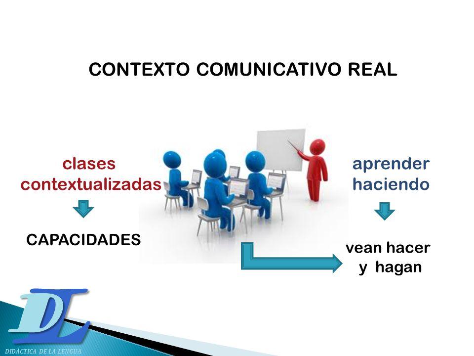 LD DIDÁCTICA DE LA LENGUA CONTEXTO COMUNICATIVO REAL clases contextualizadas aprender haciendo vean hacer y hagan CAPACIDADES