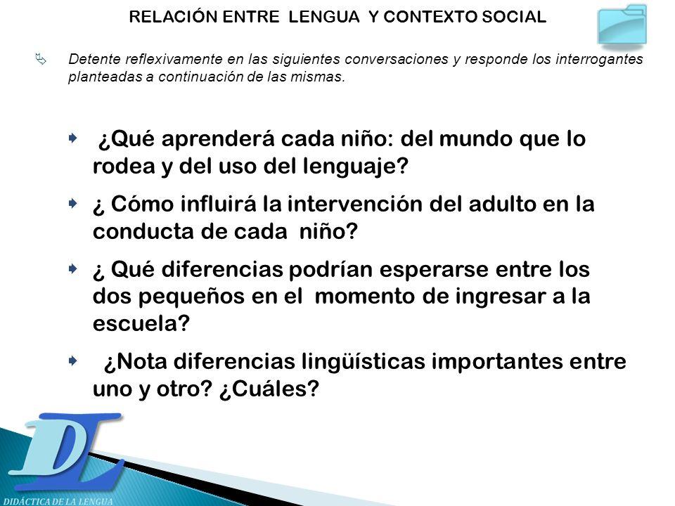 ¿Qué aprenderá cada niño: del mundo que lo rodea y del uso del lenguaje? ¿ Cómo influirá la intervención del adulto en la conducta de cada niño? ¿ Qué