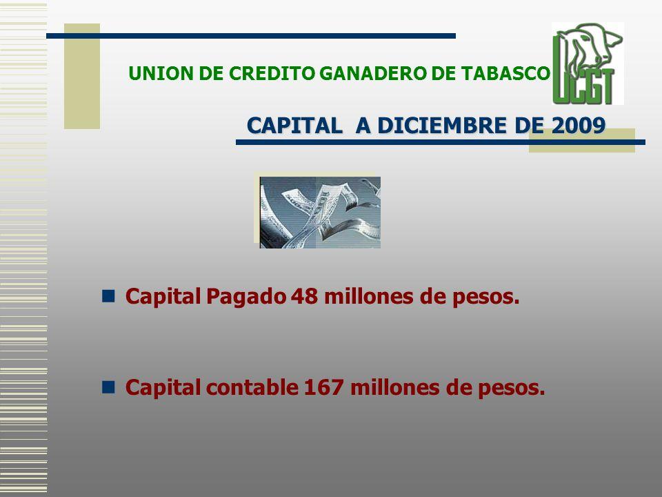 Capital Pagado 48 millones de pesos. Capital contable 167 millones de pesos. CAPITAL A DICIEMBRE DE 2009 UNION DE CREDITO GANADERO DE TABASCO